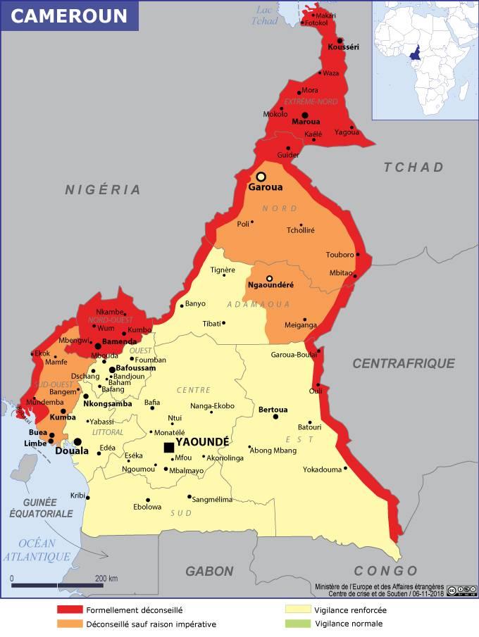 Carte des zones de sécurité au Cameroun